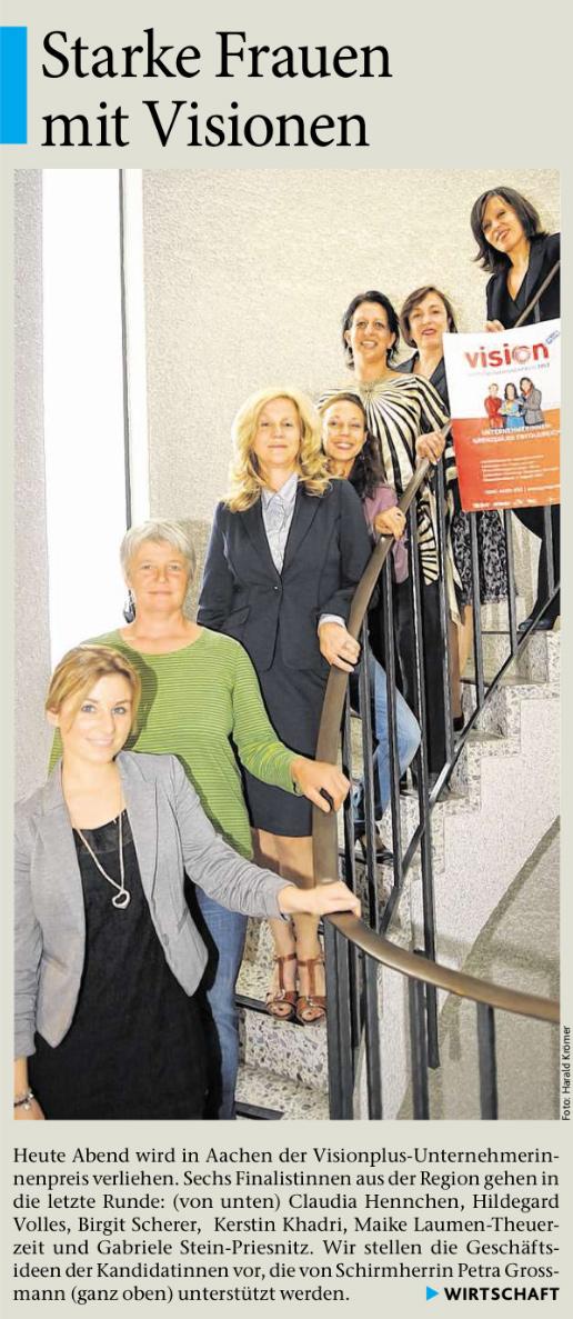 Aachener Zeitung Visionplus Unternehmerinnenpreis Seite1 2012
