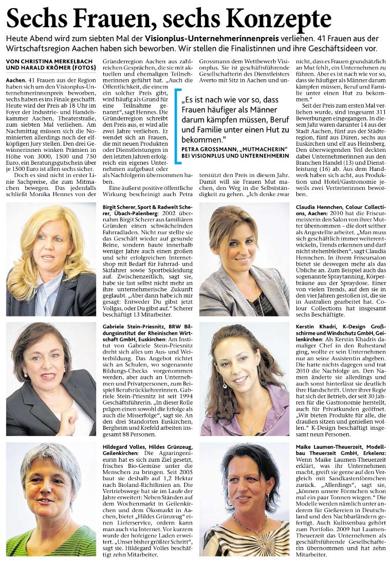 Aachener Zeitung Visionplus Unternehmerinnenpreis Seite24 2012